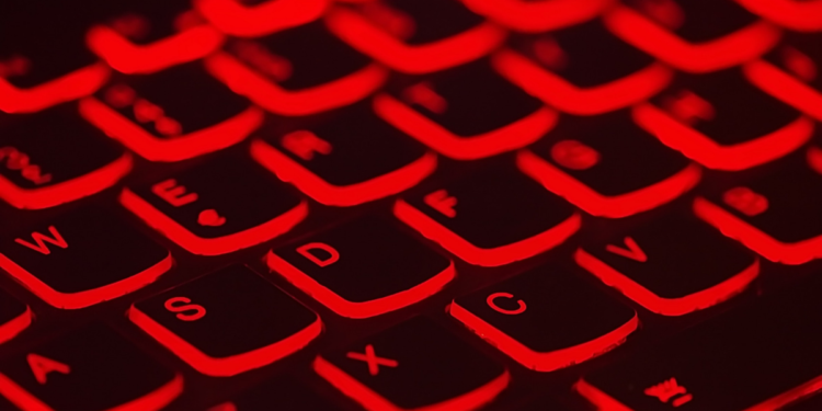 black computer keyboard with red lighting network security